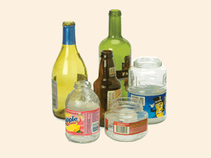 An assorted collection of glass jars and bottles.