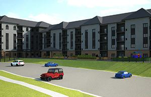Cedar Point Apartments front of building rendering