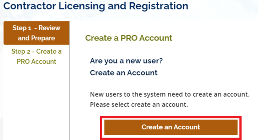 Contractor Licensing and Registration - Create a Pro Account